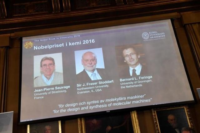 (Từ trái sang phải) Các nhà khoa học Jean-Pierre Sauvage, J Fraser Stoddart và Bernard L Feringa (Ảnh: Reuters)