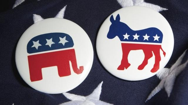 Biểu tượng con voi của đảng Cộng hòa (trái) và biểu tượng con lừa của đảng Dân chủ (Ảnh: History)