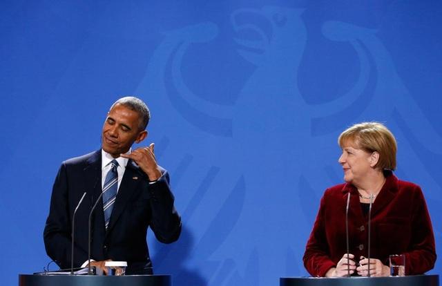 Các lãnh đạo Mỹ và Đức trong cuộc họp báo chung sau hội đàm ngày 17/11. Ông Obama đang có chuyến du nước ngoài cuối cùng trước khi mãn nhiệm ngày 20/1/2017. (Ảnh: Reuters)