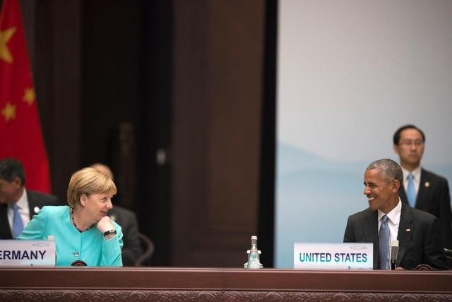 Lãnh đạo Mỹ, Đức trò chuyện tại thượng đỉnh G20 ở Hàng Châu, Trung Quốc tháng 9/2016. (Ảnh: Reuters)