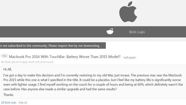 """Người dùng """"kêu trời"""" vì thời lượng pin của MacBook Pro mới - 3"""