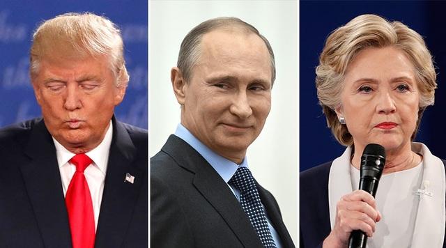 Tổng thống Nga Vladimir Puitn (giữa) và hai ứng viên tổng thống Mỹ Donald Trump và Hillary Clinton (Ảnh: Sputnik/Reuters)
