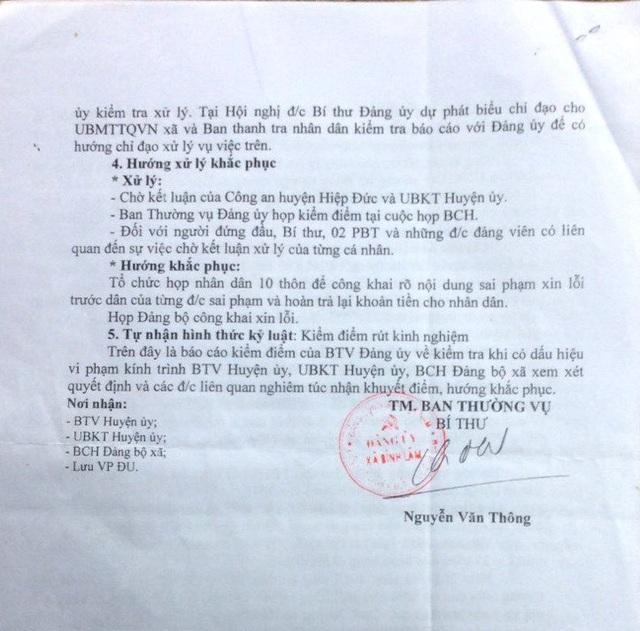 Báo cáo của Ban Thường vụ xã Bình Lâm về những khuyết điểm của cán bộ xã
