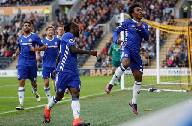 Niềm vui của Willian và các cầu thủ Chelsea
