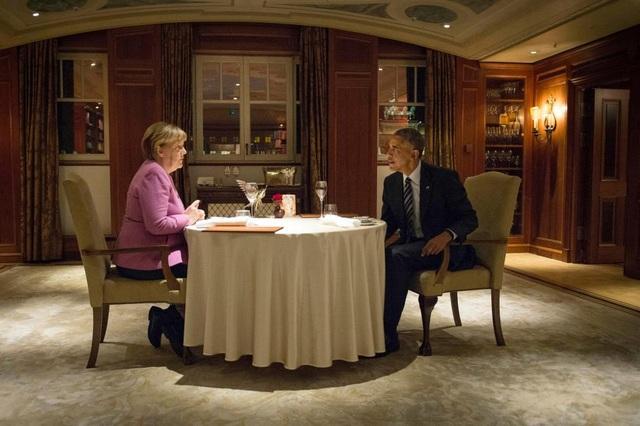Ông Obama và bà Merkel đã ăn tối riêng cùng nhau tại khách sạn Adlon ở thủ đô Berlin. (Ảnh: Reuters)