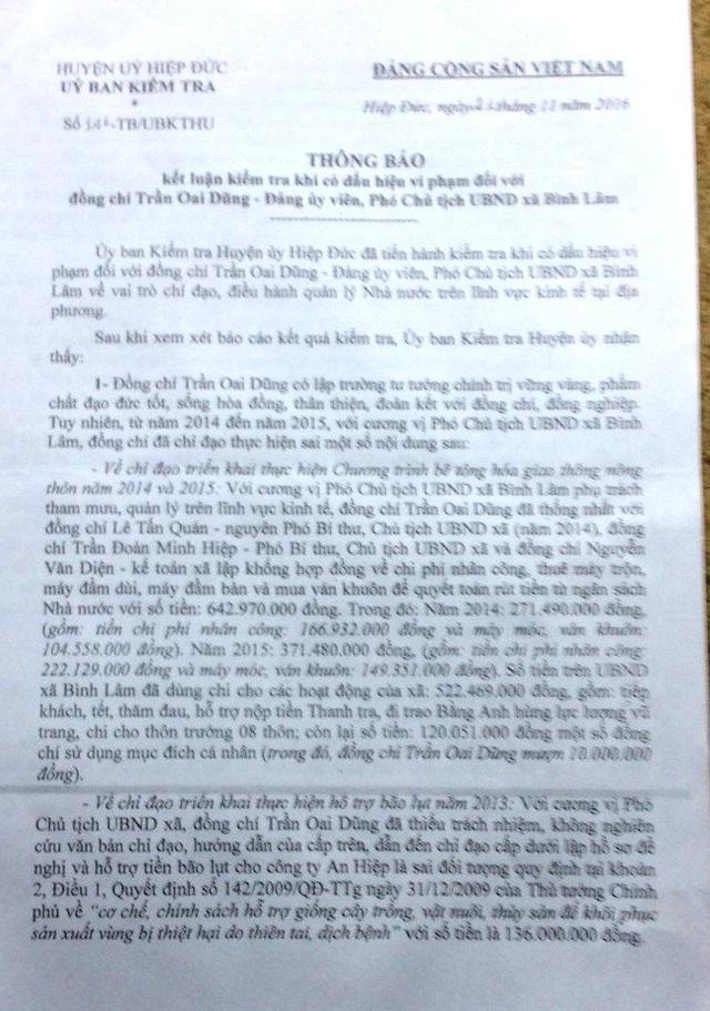 Kết luận của UBKT Huyện ủy Hiệp Đức về sai phạm của cán bộ xã Bình Lâm