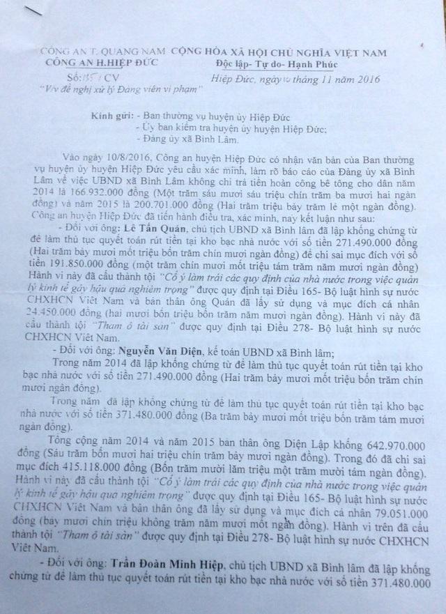 Kết luận của Công an huyện không khởi tố vụ án