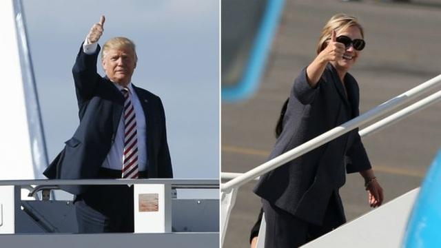 Hai ứng viên đã tới ở Las Vegas trước cuộc tranh luận (Ảnh: Getty/Reuters)