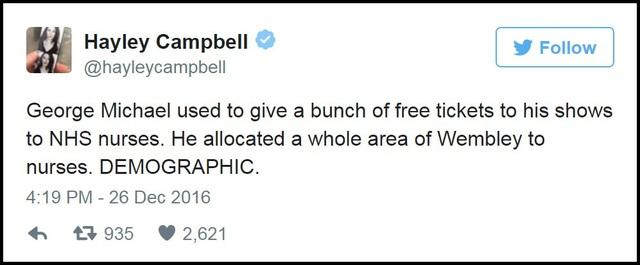 """""""George Michael từng dành tặng nhiều vé xem biểu diễn miễn phí trong các chương trình biểu diễn của ông đối với những ai là y bác sĩ phục vụ trong hệ thống dịch vụ y tế quốc gia Anh (NHS). Thậm chí nam ca sĩ còn dành riêng một khu tại sân vận động Wembley, London, Anh, để các y bác sĩ tới xem biểu diễn có thể ngồi cạnh nhau""""."""