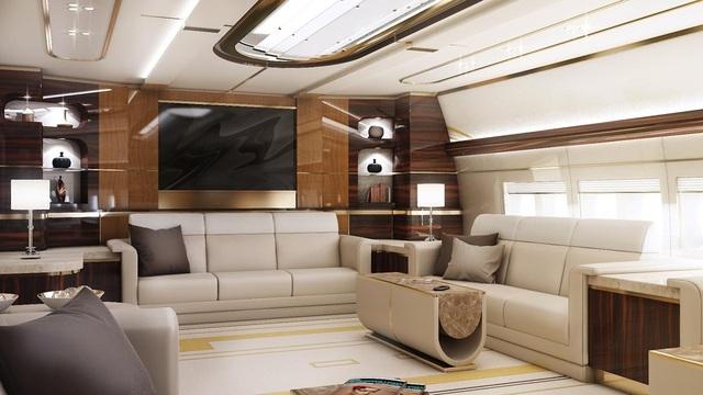 Nội thất sang trọng và tiện nghi trong phòng khách của Boeing 747-8 VIP. (Ảnh: NY Daily )