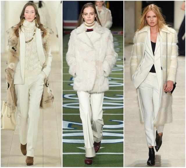 Chất liệu đa dạng - dạ, nỉ, lông thú, len, silk... đều hợp với màu trắng