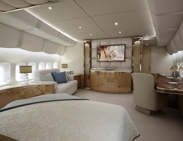 Một phòng ngủ trên Boeing 747-8 VIP (Ảnh: NY Daily)