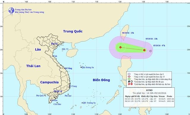 Vị trí vùng tâm áp thấp nhiệt đới.