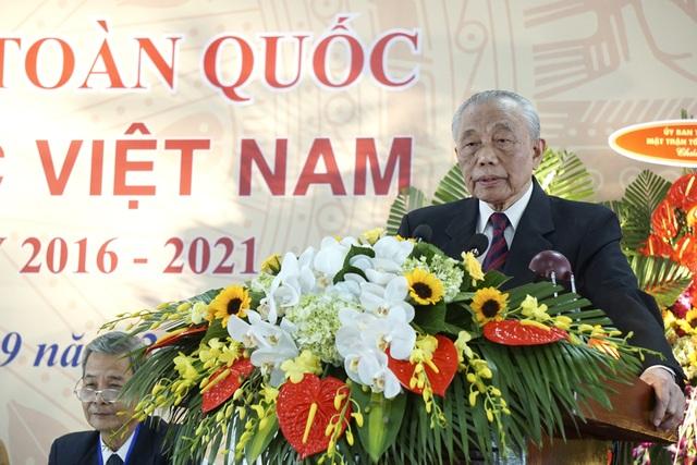 Chủ tịch Hội Khuyến học Việt Nam Nguyễn Mạnh Cầm phát biểu tại đại hội (ảnh: Hữu Nghị)