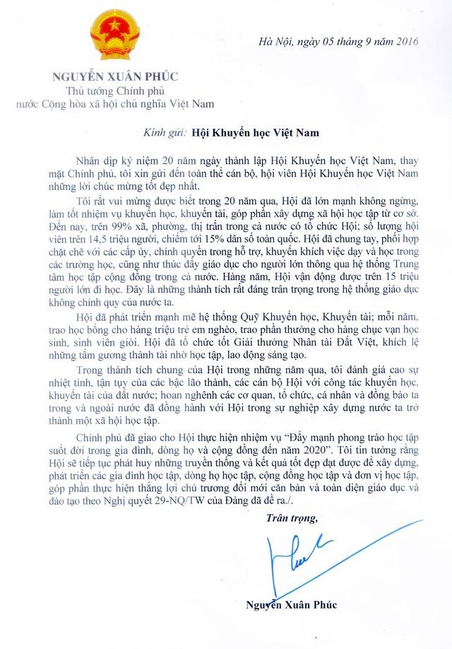 Thư chúc mừng Hội Khuyến học Việt Nam của Thủ tướng Nguyễn Xuân Phúc.
