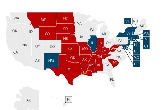 Bản đồ cho thấy các bang đã được kiểm phiếu sơ bộ ủng hộ ứng viên Cộng hòa (màu đỏ) và Dân chủ (màu xanh) (Ảnh: Sky news)