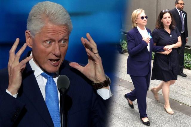 Cựu Tổng thống Mỹ Bill Clinton đã lỡ miệng nói rằng bà Clinton thường xuyên có biểu hiện tương tự như hôm 11/9 khi bà choáng váng và gần như ngã quỵ khi dự lễ tưởng niệm. (Ảnh: Getty)