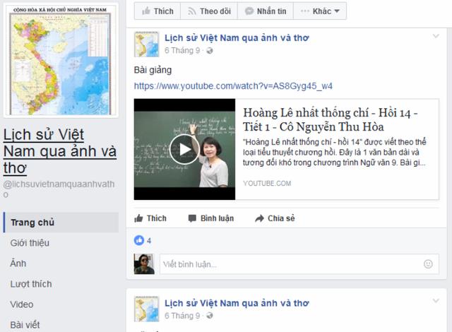 Fanpage Lịch sử Việt Nam qua ảnh và thơ trên mạng xã hội Facebook của trường THCS Trương Hán Siêu, thành phố Ninh Bình.