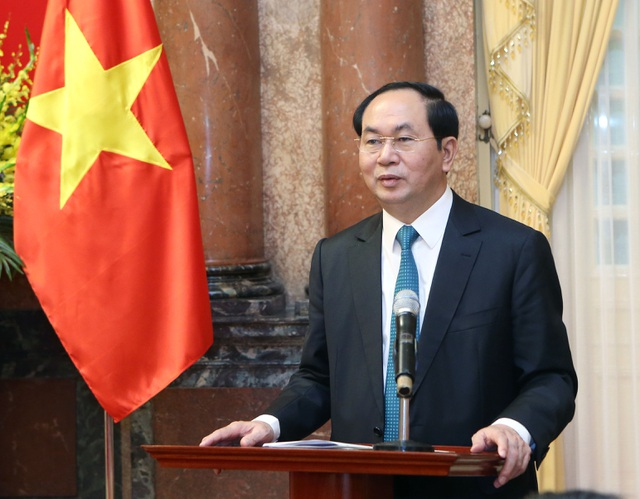Chủ tịch nước Trần Đại Quang phát biểu tại buổi gặp mặt. Ảnh: Nhan Sáng-TTXVN
