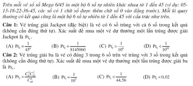 Xổ số điện toán Mega 6/45 vào đề kiểm tra môn Toán - 1