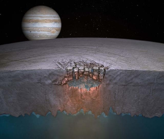 Hình ảnh minh họa này cho thấy một cơ chế khác đưa nước lên trên bề mặt của Europa. Trong kịch bản này, nước từ đại dương ngầm dâng lên qua các vết nứt trên bề mặt trong lớp vỏ băng.