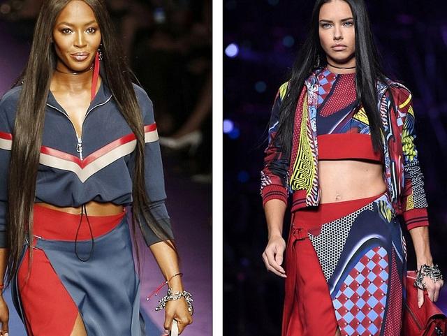 Naomi (trái) - 46 tuổi vẫn đẹp nổi bật bên thiên thần Victorias Secret Adriana Lima