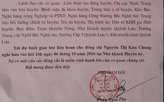 Giấy mời của BHXH huyện Quỳnh Lưu về việc dự giao lưu tiệc chia tay giám đốc BHXH huyện.
