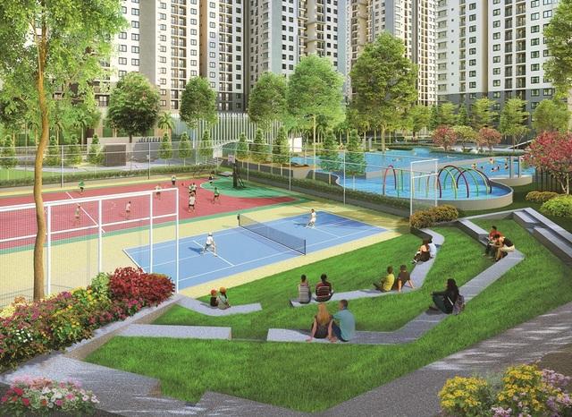 Với dự án Saigon South Residences, chủ đầu tư Phú Mỹ Hưng cho biết chi phí đầu tư cho chuỗi 69 tiện ích là khá cao; trong đó, nhiều hạng mục chưa từng có trong các dự án của đơn vị này trước kia thì nay xuất hiện tại công trình mới trình làng này. Trong hình là sân thể thao đa năng.