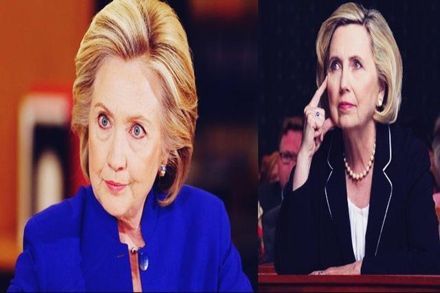 Ứng viên tổng thống Mỹ Hillary Clinton (trái) và nữ nghệ sĩ bản sao Teresa Barnwell. (Ảnh: Getty)