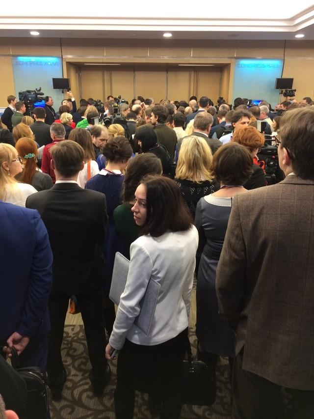 Gần 1.500 phóng viên cả trong nước và quốc tế tham dự cuộc họp báo của Tổng thống Putin. (Ảnh: Twitter)