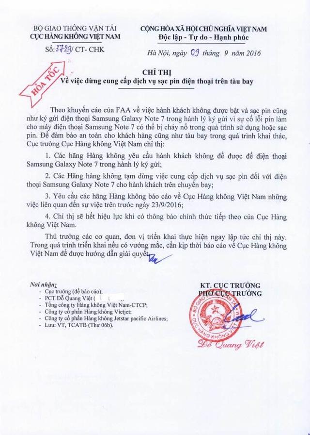 Chỉ thị ngày 9/9/2016 của Cục Hàng không Việt Nam.