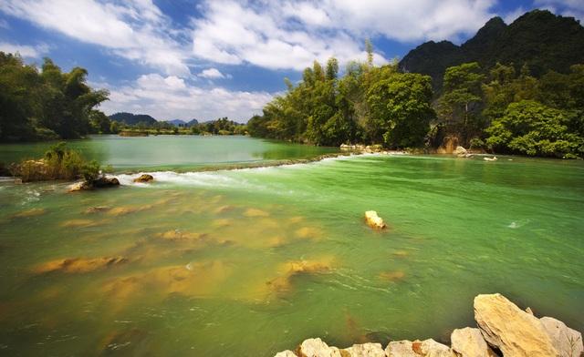 Lũy tre làng Việt soi bóng dưới dòng sông Quây Sơn xanh như ngọc