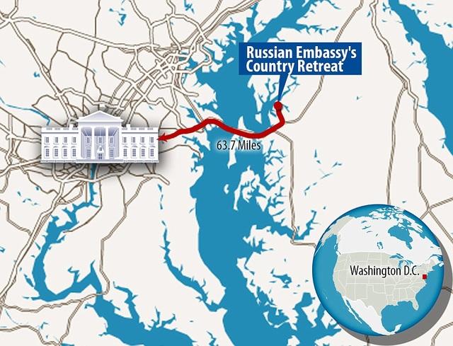 Tổ hợp này cách thủ đô Washington chỉ 30 phút lái xe. (Đồ họa: Dailymai)