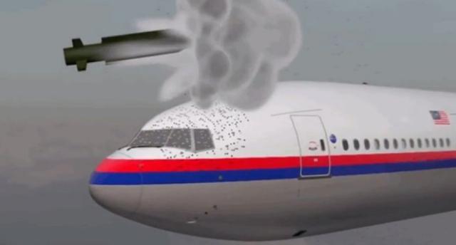 Mô phỏng tên lửa đất đối không tấn bắn trúng máy bay MH17. Ảnh: Huffington Post