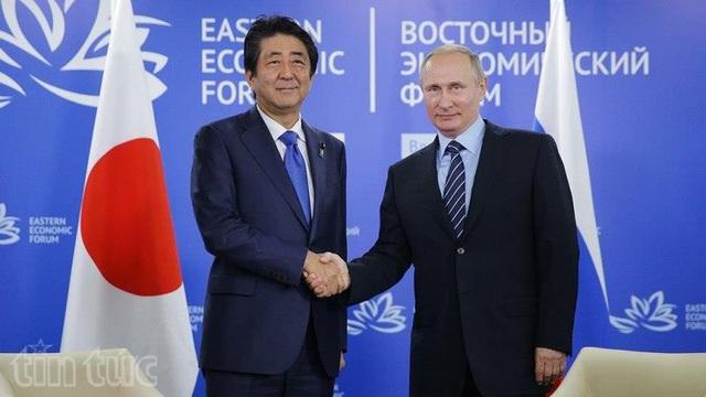 Tổng thống Nga Putin (phải) và Thủ tướng Nhật Bản Shinzo Abe. (Ảnh: TTXVN)