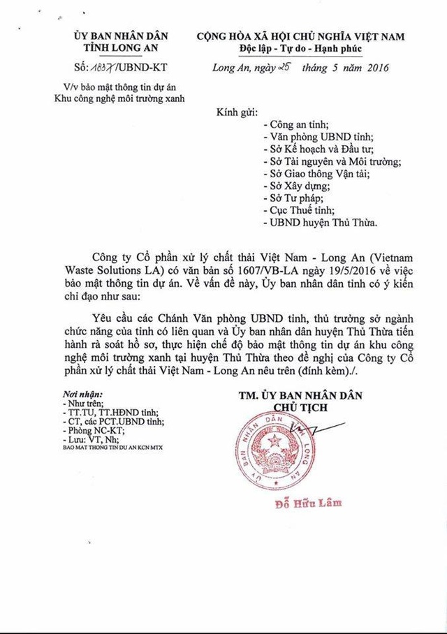 Văn bản bảo mật thông tin của UBND tỉnh Long An
