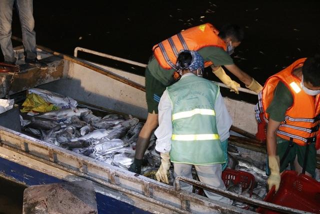 21h tại Hồ Tây nhiều lực lượng công nhân môi trường, công an... vẫn nỗ lực khắc phục hiện tượng cá chết hàng loạt. Ảnh: Trọng Trinh