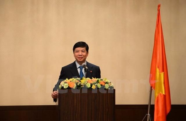 Đại sứ Việt Nam tại Nhật Bản Nguyễn Quốc Cường phát biểu tại Chương trình Việt Nam tươi đẹp. (Ảnh: Thành Hữu/Vietnam+)
