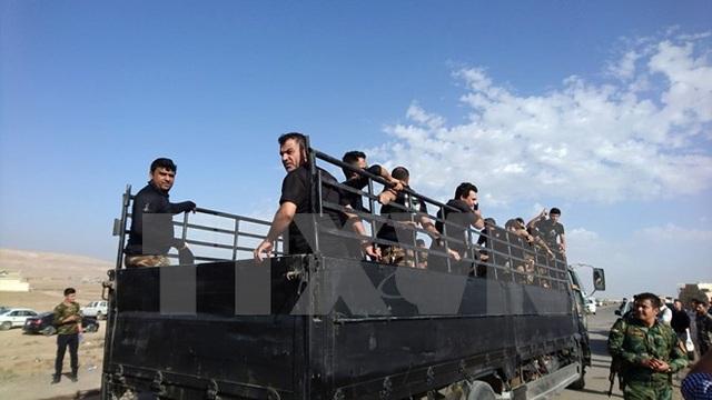 Lực lượng chống khủng bố Iraq tiến vào thị trấn Bazwaia, phía nam Mosul ngày 31/10. (Nguồn: THX/TTXVN)