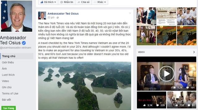Trên Facabook, Đại sứ Mỹ tại Việt Nam Ted Osius mời gọi mọi người đến VN.