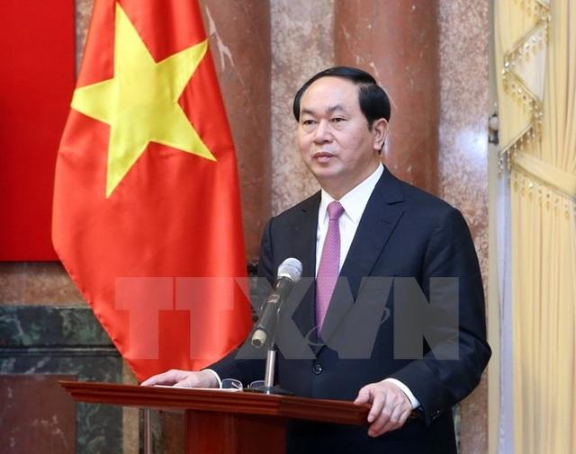Chủ tịch nước Trần Đại Quang phát biểu tại buổi gặp mặt. (Ảnh: Nhan Sáng/TTXVN)