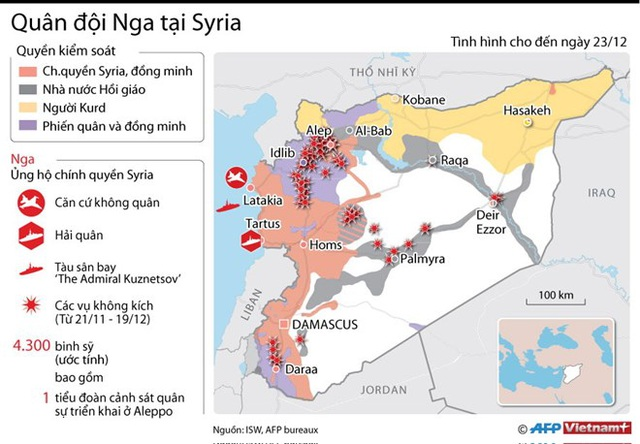 [Infographics] Quân đội Nga triển khai lực lượng hùng hậu ở Syria - 1