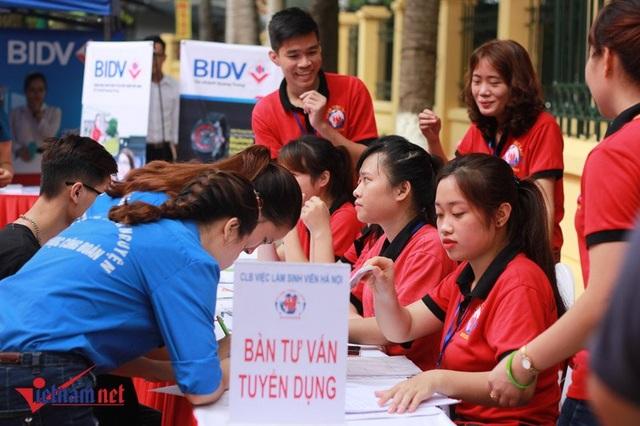 Sinh viên tham gia ngày hội tư vấn việc làm với nhiều cơ hội. Ảnh Trần Thường