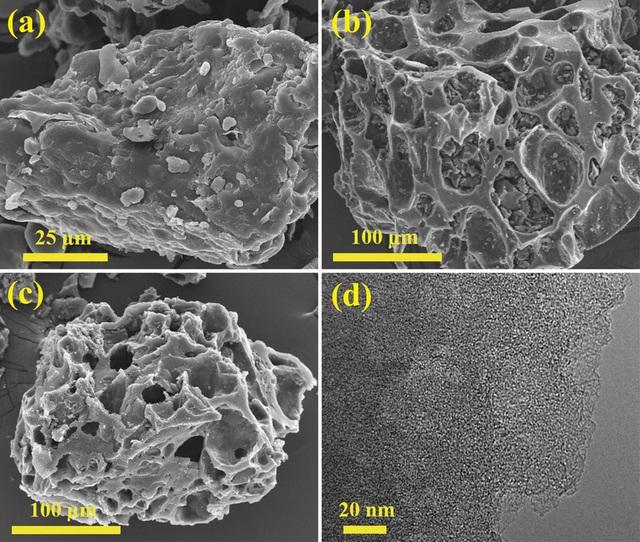 HÌnh ảnh kính hiển vi điện tử quét (SEM) của: (a) bột mỳ; (b) khoang lưu giữ carbon vi xốp - MCC; (c) MCC - K3 (tỷ lệ KOH/C là 3); (d) Hình ảnh kính hiển vi điện tử truyền qua (TEM) của MCC -K3