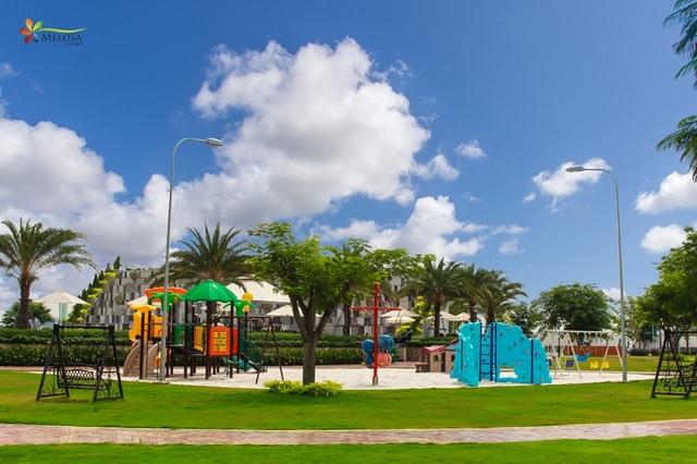 Melosa Garden có 4 ha diện tích cho không gian xanh và hệ thống tiện ích đã hiện hữu.