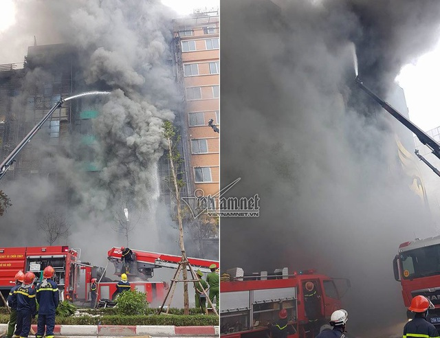 Cháy dãy quán Karraoke ở phố Trần Thái Tông chiều 1/11.