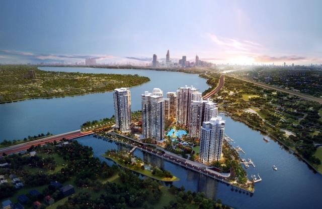 Diamond Island với 3 mặt giáp sông, tầm nhìn toàn cảnh 360 độ hướng sông và trung tâm thành phố