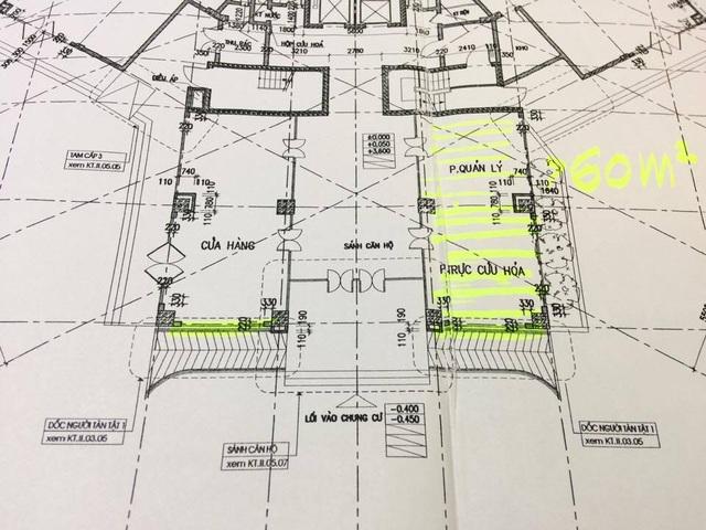 Phần diện tích 3 phòng trực cứu hỏa ban đầu đã bị chủ đầu tư tự ý chuyển thành ki-ốt để cho thuê