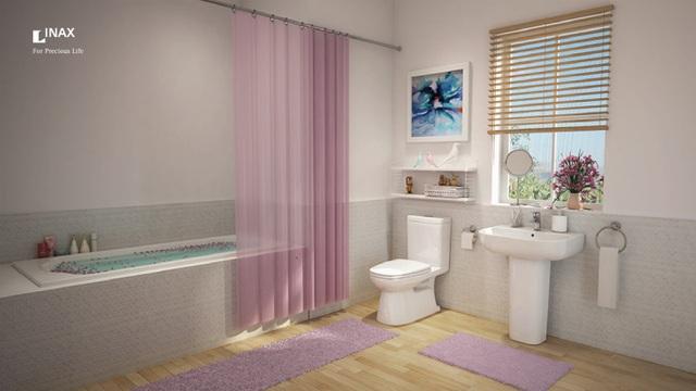 Phòng tắm với bộ thiết bị vệ sinh INAX