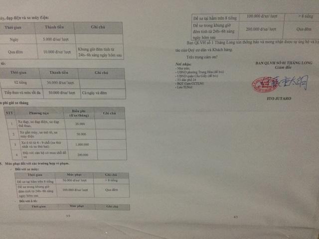 Bảng giá gửi xe tại tòa nhà Thăng Long Number one